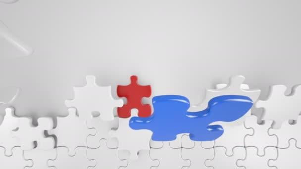 Barevné kousky Puzzle v centru. 3D animace obchodní spolupráce koncept. Zelená obrazovka alfa masku. 4 k Ultra Hd 3840 x 2160