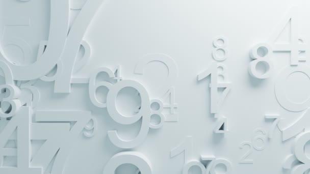 Krásná bílá čísla na povrchu pohybuje v smyčkového 3d animace. Abstraktní Motion Design pozadí. Počítač vytvořený proces. 4k Uhd 3840 x 2160.