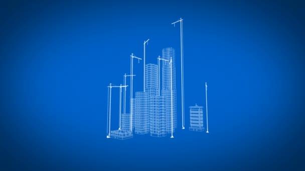 Beautiful 3d blueprint of contemporary buildings with cranes flying beautiful 3d blueprint of contemporary buildings with cranes flying over growing city blue color malvernweather Choice Image
