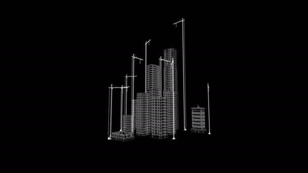 Létání nad rostoucí město. Krásné 3d Blueprint Contemporary budov s jeřáby. Bílá na černé 3d animace. Stavební firmy a návrh technologie. 4 k Ultra Hd 3840 x 2160.