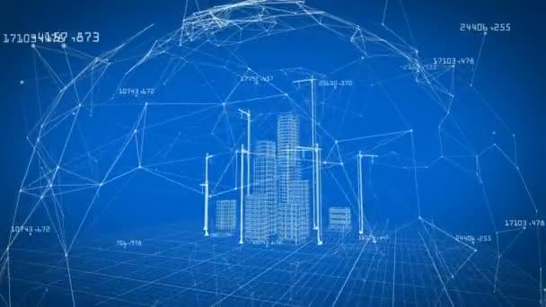 Krásné 3d Blueprint Contemporary budov s jeřáby uvnitř sítě. Létání nad rostoucí město projekt. Modrá barva 3d animace. Stavební firmy a návrh technologie. 4k Uhd 3840 x 2160.