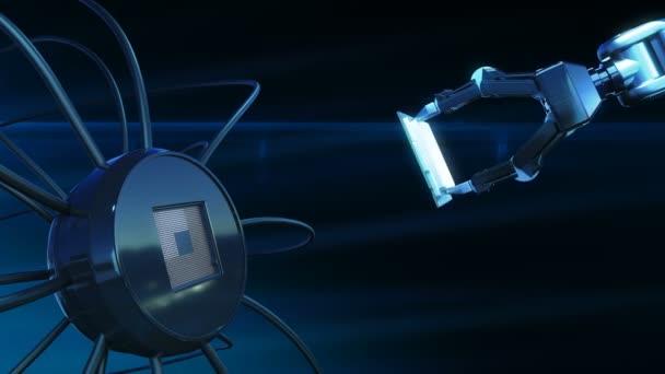Gyönyörű folyamat a telepítési folyamat a futurisztikus áramköri robot kar absztrakt 3d animáció Modern alaplap és a Cpu. Technológia és digitális koncepció. 4k Uhd 3840 x 2160