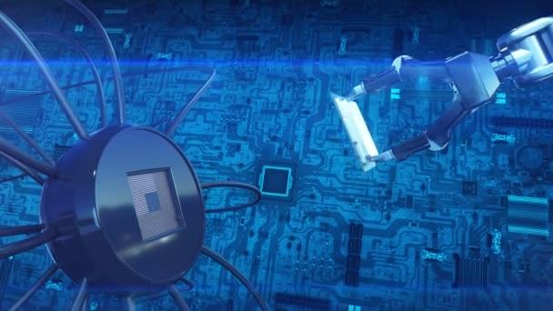 Proces instalace procesor na základní desce s robotickou Arm. abstraktní 3d animaci futuristické desku s Cpu. Technologie a digitální koncepce. 4 k Ultra Hd 3840 x 2160.