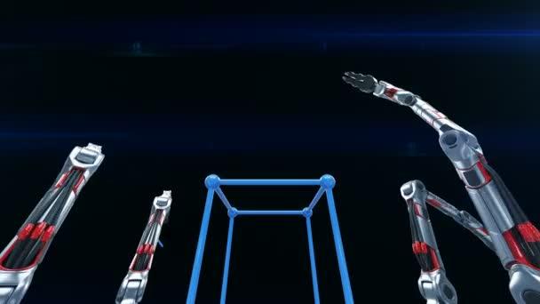 Robotické paže montáž sítě mřížkové struktuře v cyklických 3d animaci. Průmyslový a technologický koncept. 4k Uhd 3840 x 2160.