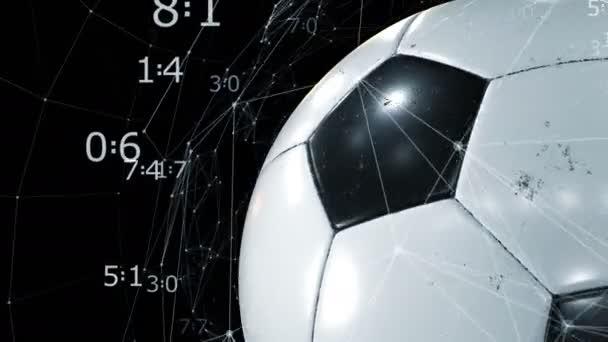 schöner Fußballball, der sich in Zeitlupe in Großaufnahme auf Schwarz dreht, mit wachsendem Netz von Partituren. geloopter Fußball 3D-Animation des Drehens von Ball. 4k ultra hd 3840x2160.