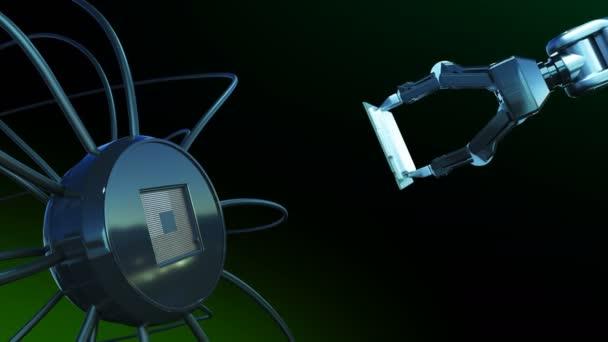 Robotika kar Cpu forgalomba futurisztikus áramköri zöld jelekkel. 3D animáció alaplap a Cpu és a fáklyák. Technológia és digitális koncepció. 4 k Ultra Hd 3840 x 2160.