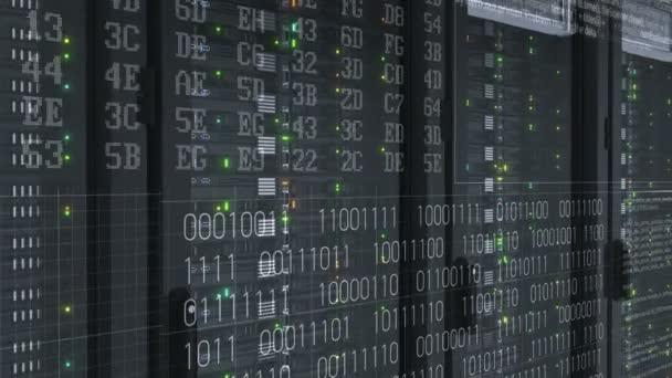 digitale Visualisierung von blinkenden Rechnerprozessen auf Arbeitsplatzservern aus nächster Nähe in modernen Cloud-Computing-Datenspeichern im Rechenzentrum. Starkes Rendering. geloopte 3D-Animation 4k uhd 3840x2160.