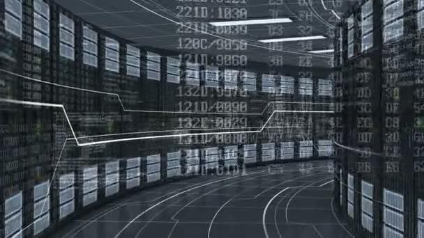 Bewegung durch die Arbeit in modernen Datacenter Server Rack. Cloud Computing ist die Datenspeicherung. Komplexe Berechnungen. 3d Animation geloopt. 4 k Ultra Hd 3840 x 2160