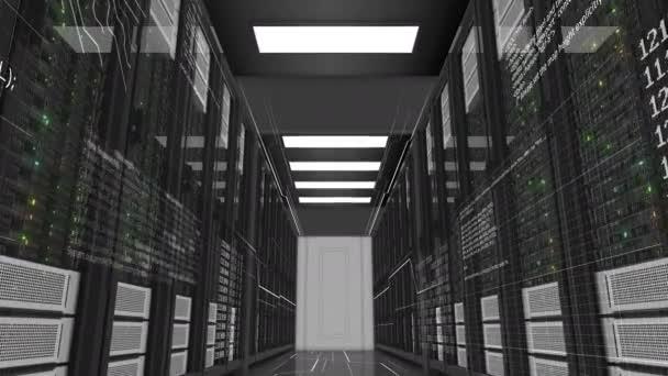Schöne Rack-Servern arbeiten in modernen Rechenzentren. Cloud Computing ist die Datenspeicherung. Komplexe Berechnungen und Digitalisierung Informationen. Digitale Technologie-Konzept. 3D Animation. 4k Uhd 3840 x 2160