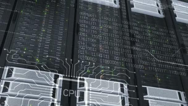 Schöne Nahaufnahmen Rack-Server Cloud Computing im modernen Rechenzentrum. Schwere 3D-Rendering, Datenspeicherung, komplexe Berechnungen. 3d Animation geloopt. 4k Uhd 3840 x 2160