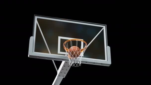 Szép hosszú dobni egy Kosárlabda Hoop lassított kamera Fly. Labda repül forgó kosár nettó fekete háttér és a zöld képernyő. Sport koncepció. 3D-s animációs alfa-Matt 4k Uhd 3840 x 2160.