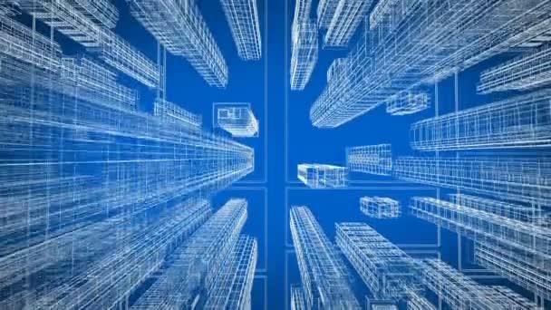 Krásné moderní město pohybující se přes digitální 3d plán letecký pohled. Konstrukce a technologie konceptu. Modrá barva 3d animace smyčkou. 4 k Ultra Hd 3840 x 2160.