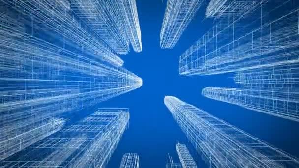 bewegen sich durch die schöne moderne Stadt digitale 3D-Blaupause Ansicht nach oben. Bau- und Technologiekonzept. blaue Farbe 3D-Animation Schleife. 4k uhd 3840x2160.