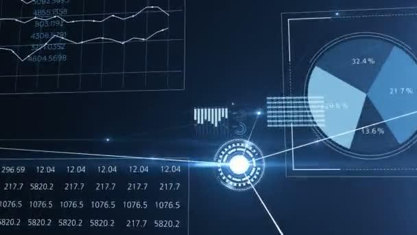 Letu uvnitř abstraktní globální rostoucí obchodní síť a datová připojení. Krásné smyčky 3d animace s modrými čarami, tečky a světlice. Podnikání a technologický koncept. 4 k Ultra Hd 3840 x 2160.