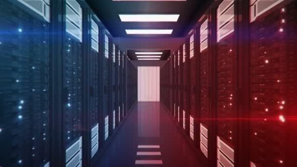 Bewegung durch den Serverraum mit blauen und roten Serverschränken Rechenzentrum. Konzept der Informationskonfrontation im Cyberkrieg. wunderschöne 3D-Animation mit flackerndem Computerlicht. 4k ultra hd 3840x2160