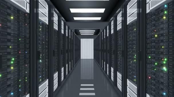 Datacenter Server pokoj letí. Abstraktní smyčkového 3d animace racků, řádky serverů v datovém centru s blikající světla bezproblémové. Koncept digitální technologie. 4 k Ultra Hd 3840 x 2160