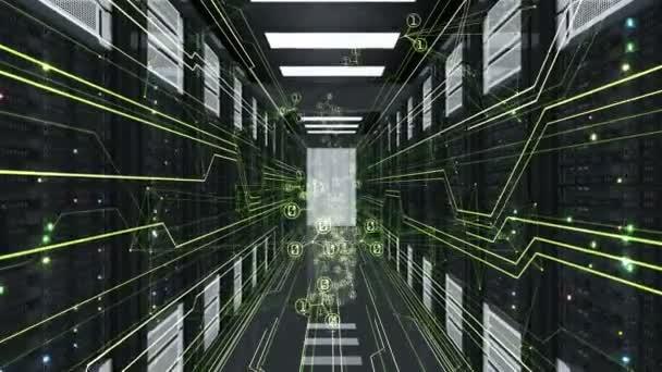 Digitální symboly ve složce Síťová připojení, oplývající abstraktní vazby v Datacenter. Smyčkového 3d animace serverových rozvaděčích. Digitálních médií a technologií konceptu. 4 k Ultra Hd 3840 x 2160.
