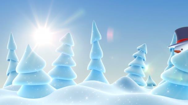 Legrační sněhulák v válcový klobouk pozdrav s rukou a usmívá se v slunném lese sněhu. Krásné 3d kreslené animace. Animovaný pozdrav karty Veselé Vánoce a šťastný nový rok konceptu. 4k Uhd 3840 x 2160