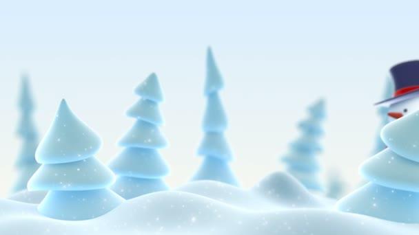 Puding v válcový klobouk pozdrav s rukou a usmívá se v zimním lese s Dof rozostření. Krásné 3d kreslené animace. Veselé Vánoce a šťastný nový rok koncepce. 4 k Ultra Hd 3840 x 2160.