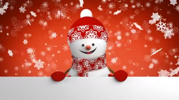 Szép boldog hóember piros sapka, üdvözlés, kézzel és mosolyogva esik a hó. 3D rajzfilm animációs zöld képernyő alfa-csatorna. Animált üdvözlőlapot. Új év koncepció. 4 k Ultra Hd 3840 x 2160