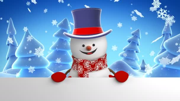 Puding v válce Hat pozdrav na pozadí zimní les. Krásné 3d Kreslená animace zelené obrazovky Alfa podkladu. Animované přání. Nový rok koncept. 4 k Ultra Hd 3840 x 2160.