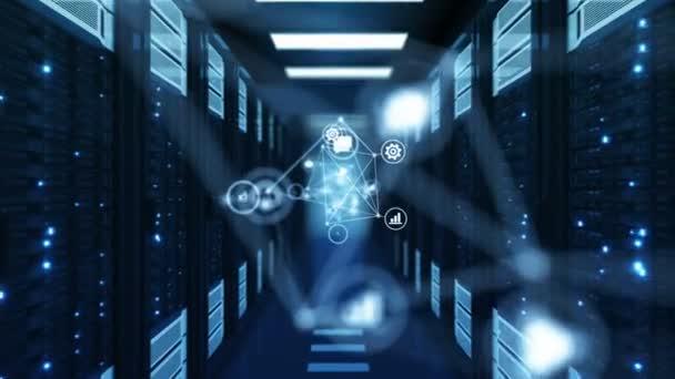 schöne blaue Netzwerksymbole, die in futuristischen Racks von Rechenzentren fließen. geloopte 3D-Animation. Zukunftsweisendes Technologiekonzept für digitale Medien. 4k ultra hd 3840x2160.