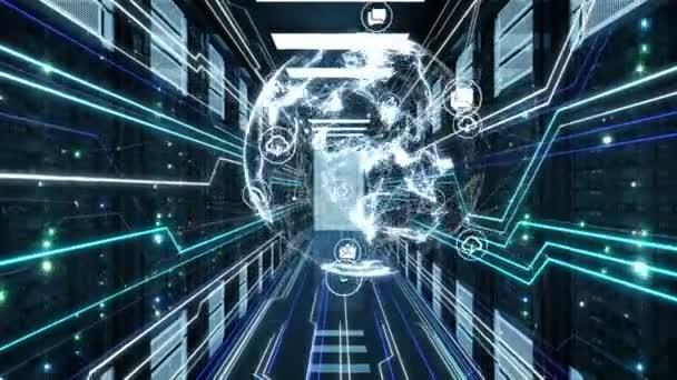 digitale Erde-Hologramm und Netzwerk-Symbole Verbindungen bewegen sich in futuristischen Rechenzentrum Raum Server-Racks. schleifenfähige 3D-Animation. globaler digitaler Technologie und Geschäftskonzept. 4k uhd 3840x2160.
