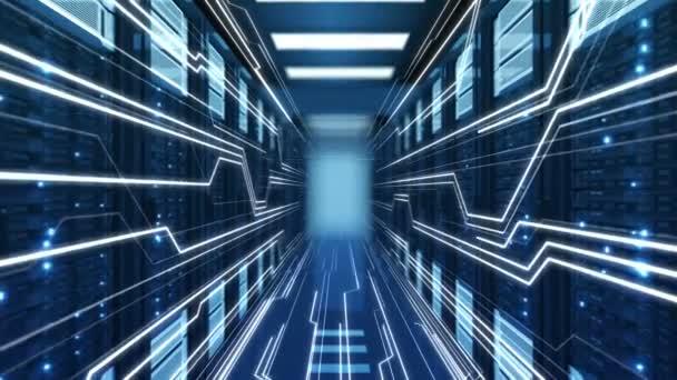 fliegen durch abstrakte blaue Rechenzentrumsserver-Racks, in denen Streamlines und digitaler Text erscheinen. geloopte 3D-Animation. futuristisches Geschäfts- und Digitaltechnologiekonzept. 4k uhd 3840x2160.