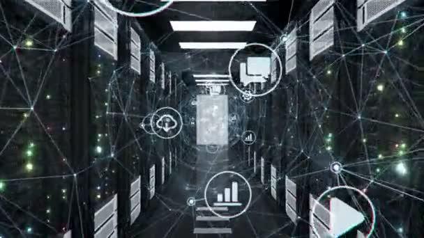 Flug durch abstrakte digitale Netzwerktunnel mit fließenden Icons in Rechenzentrum-Serverschränken mit blinkenden Lichtern und Links. geloopte 3D-Animation. futuristisches Technologiekonzept. 4k uhd 3840x2160.