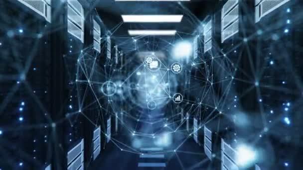 blaues digitales Tunnel-Hologramm mit Netzwerksymbolen und Verbindungen in Rechenzentrum-Serverschränken mit Netz-Gitter und Verknüpfungen. Schlupflöcher bietende 3D-Animation. futuristisches Technologiekonzept. 4k uhd 3840x2160.