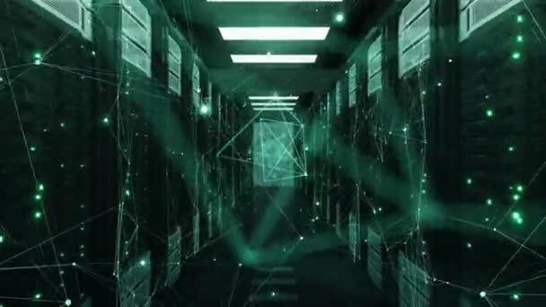 Chaotische Netzwerkverbindungen zur Gründung und fliegen im Abstract Data Center Server-Racks-Raum zu brechen. 3d Animation geloopt. Futuristische Digitaltechnik Konzept. 4 k Ultra Hd 3840 x 2160