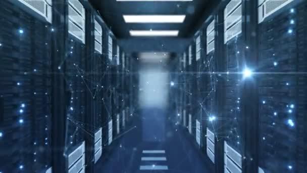 Pohybující se po krásné nové rostoucí sítě Grid s blikající světla v serverovně regály abstraktní datového centra. Smyčkového 3d animace. Futuristický digitální technologie koncept. 4k Uhd 3840 x 2160.