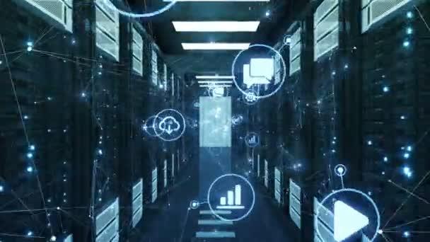 blaue futuristische Netzwerksymbole und Verbindungen, die sich ändern und in abstrakten, modernen Rechenzentrum-Serverschränken bewegen. geloopte 3D-Animation. Technologiekonzept. 4k ultra hd 3840x2160.