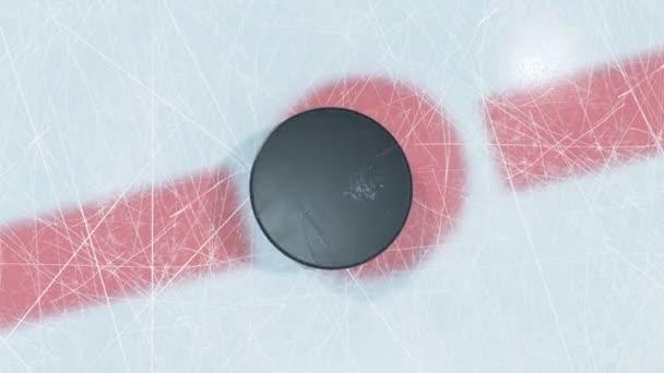 Detail hokejový puk pokles off zóně. 3D animace-PUK padající na ledě s a bez rozostření Dof na Green Screen Alpha masky. Aktivní Sport koncept. 4k Uhd 3840 x 2160.