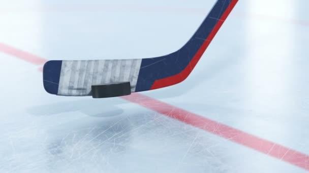Gyönyörű Hockey Stick ütő hoki korong, lassú mozgás közelről a Dof Blur. Mélységélesség 3D-s animáció. Aktív Sport koncepció. ID-alfa-maszkot. 4 k Ultra Hd 3840 x 2160.