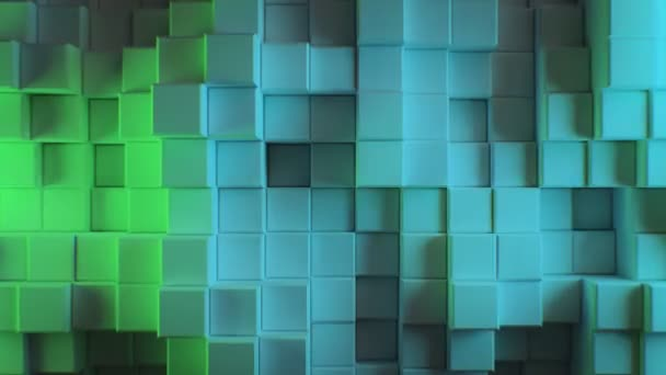 Beautiful Abstract Cubes in Different Colors Lights Looped 3d Animation. Color Wall Moving Seamless Background in 4k Ultra HD 3840x2160.