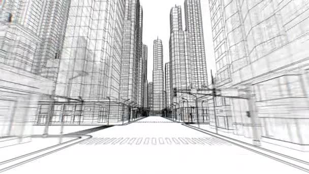 Digital Empty Streets in Abstract City Moving Through Seamless Digital 3d Blueprint on White. Business and Technology Concept. Looped 3d Animation. 4k UHD 3840x2160.
