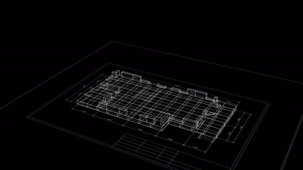 Proces výstavby prostorového tisku chalupu na černém pozadí. 3D animace budovy abstraktního domu. Koncepce stavebního podnikání. Poslední otáčkou lze opakovat. 4k Ultra HD 3840x2160.