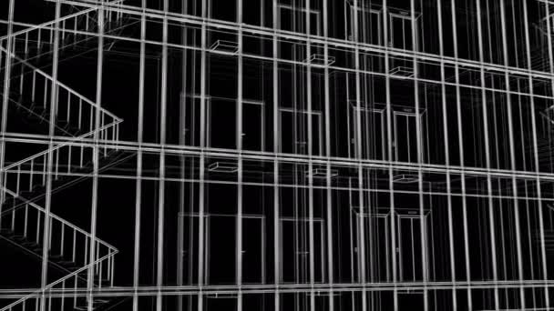 Beautiful Abstract Modern Building Facade Grid Construction Blueprint Seamless. Looped 3d Animation of Skyscraper Exterior and Interior in Lines on Black Background. 4k Ultra HD 3840x2160.