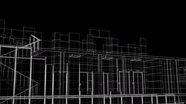 Krásný abstraktní stavební proces při mrakodrapu. Cyklovaná 3D animace rostoucí výstavby pokročit moderní budova ve struktuře čar. 4k Ultra HD 3840x2160.