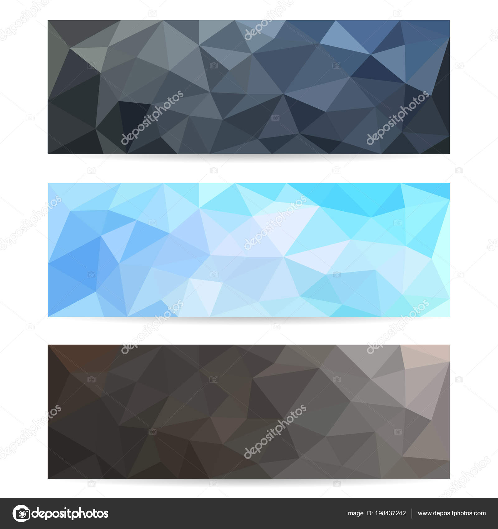 set polygonal backgrounds online resources different bright colors stock vector