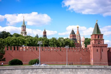RUSSIA, MOSCOW - June 30, 2017:View of the Kremlin across the river, temples with golden domes