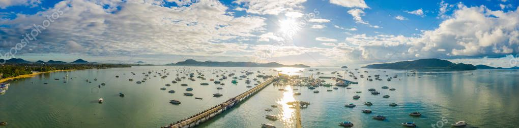 aerial view sunrise above Chalong gulf. Chalong marina is a center for intense boating activity