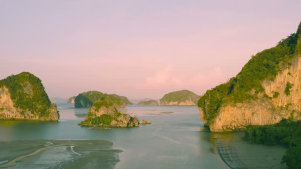 aerial photography Baan Hinrom island in the middle of Samed Nangshe archipelago in Phang Nga Thailand