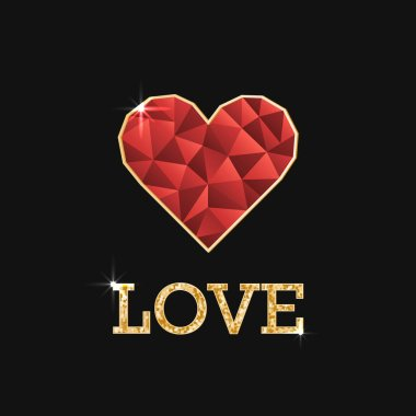 Illustration with polygonal red heart and golden inscription love