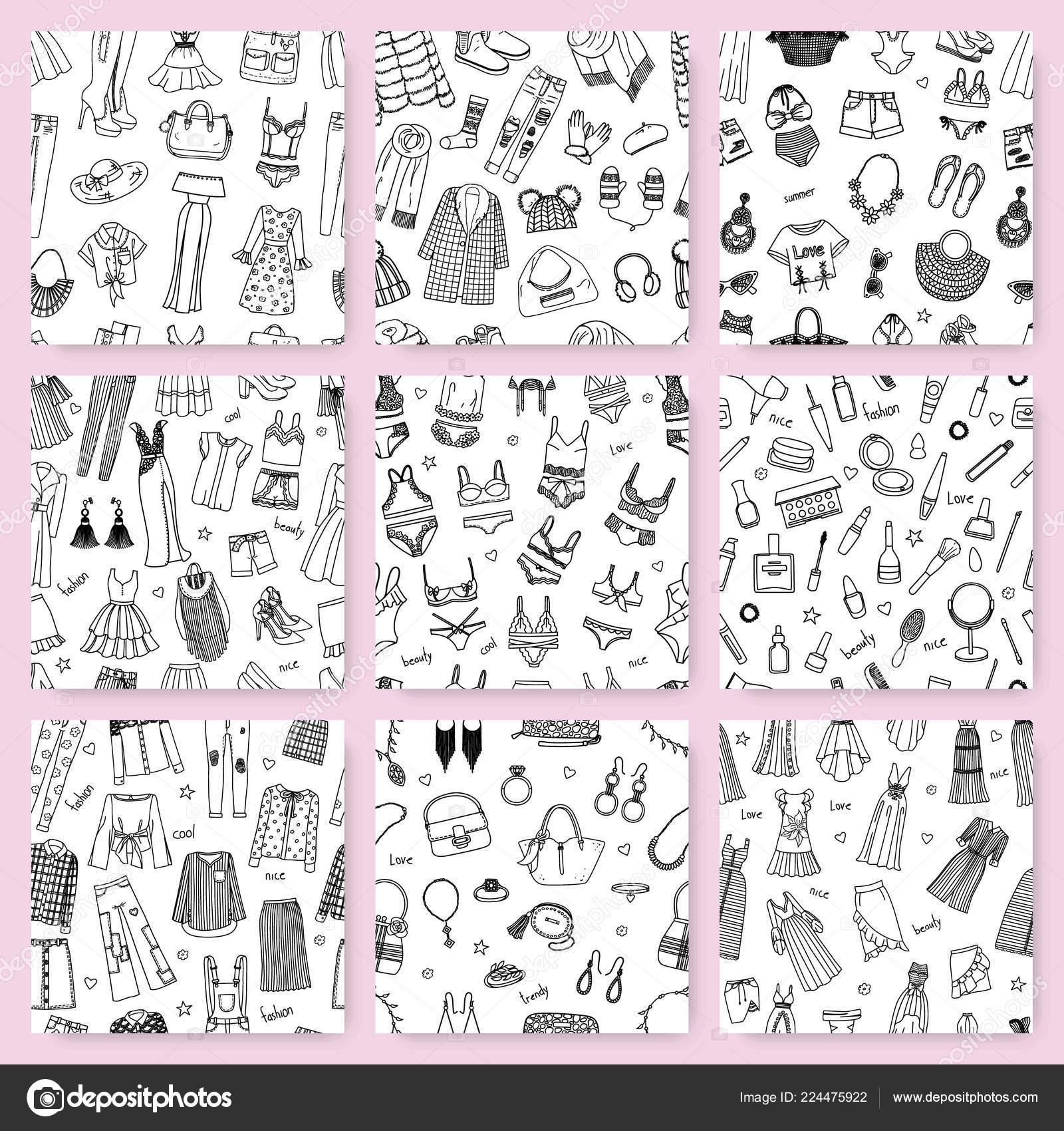 Colección de sin costura patrones esta dibujado a mano moda ropa y ...
