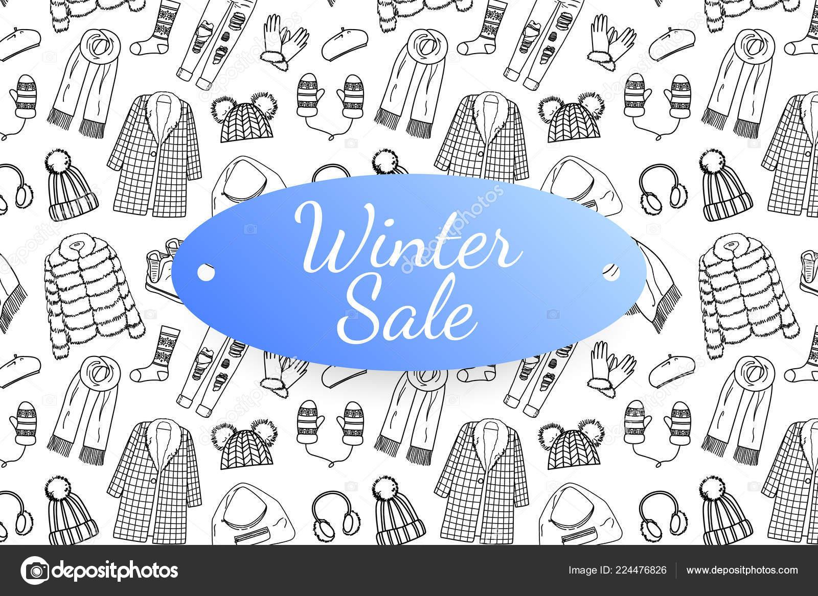 Napis Vyprodej Zimni Rukou Kreslene Modni Obleceni A Doplnky Stock
