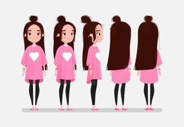 Beautiful young girl character turnaround