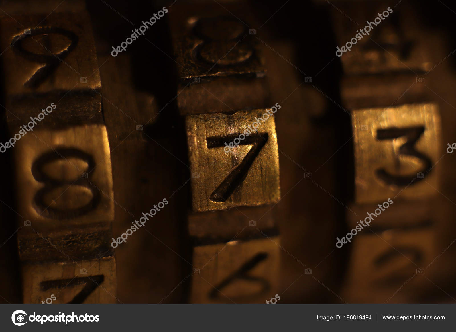 Retro Bronze Lock Number Combination Shiny Vintage Codes