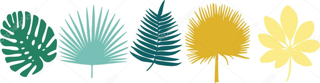 5 leaf patterns of very cut out and different shapes, yellow, green and blue
